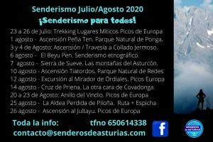 calendario rutas montaña en asturias